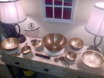 Singing bowls on table